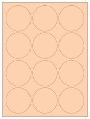 """2.5"""" Diameter 12UP Pastel Orange Circle Labels"""