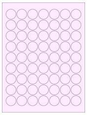 """1"""" Diameter 63UP Pastel Pink Circle Labels"""