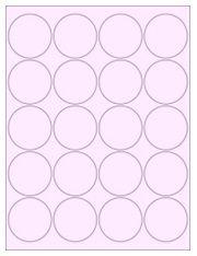 """2"""" Diameter 20UP Pastel Pink Circle Labels"""