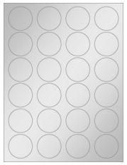 """1.625"""" Diameter 24UP Silver Foil Laser Labels"""