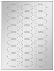 """2"""" x 1"""" 27UP Silver Foil Oval Laser Labels"""