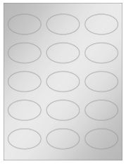 """2.375"""" x 1.4375"""" 15UP Silver Foil Oval Laser Labels"""