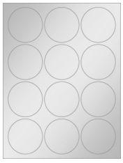 """2.5"""" Diameter 12UP Silver Foil Laser Labels"""