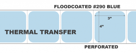 """4"""" x 3"""" Thermal Transfer Labels - Perforated - Floodcoated #290 Blue"""
