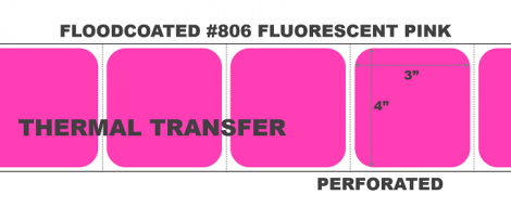 """4"""" x 3"""" Thermal Transfer Labels - Perforated - Floodcoated #806 Fluorescent Pink"""