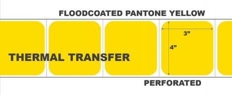 """4"""" x 3"""" Thermal Transfer Labels - Perforated - Floodcoated Pantone Yellow"""