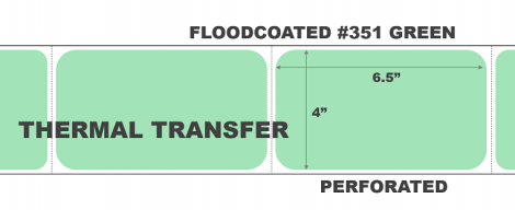 """4"""" x 6.5"""" Thermal Transfer Labels Floodcoated PMS #351 Green"""