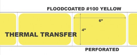 """4"""" x 6"""" Thermal Transfer Labels - Perforated - Floodcoated #100 Yellow"""
