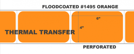 """4"""" x 6"""" Thermal Transfer Labels - Perforated - Floodcoated #1495 Orange"""