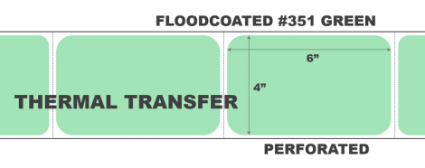 4x6 Thermal Transfer Labels - Floodcoated #351 Green