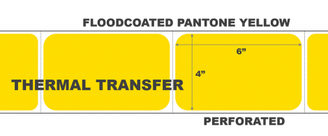 4x6 Thermal Transfer Labels - Floodcoated Pantone Yellow